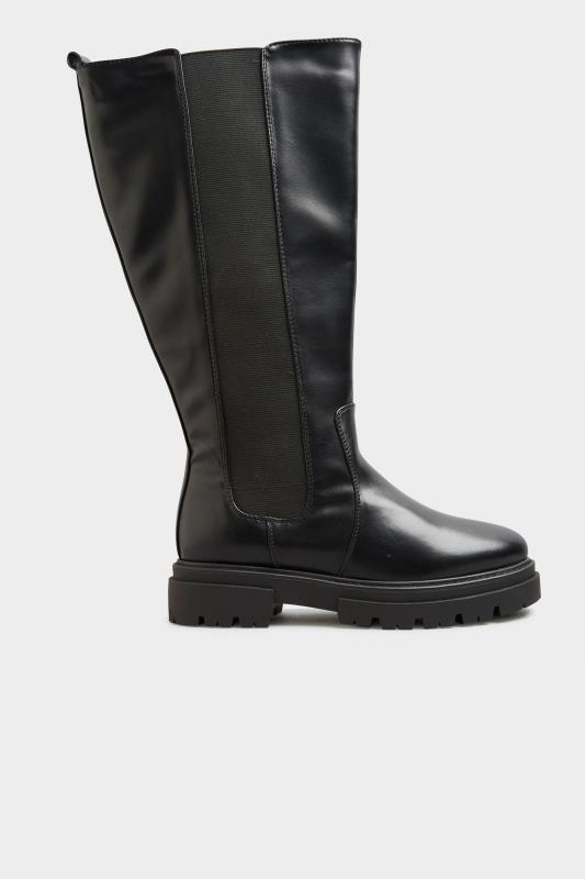 LIMITED COLLECTION Black Elasticated Knee High Cleated Boots In Extra Wide Fit_B.jpg