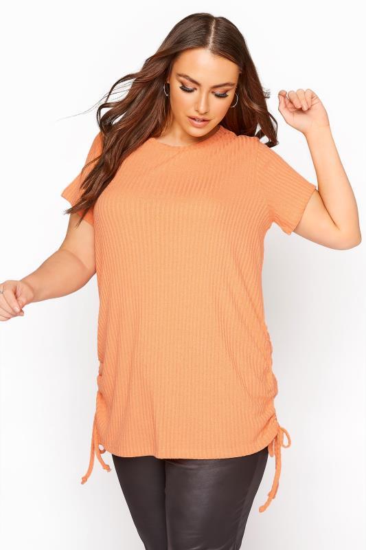 Plus Size  Orange Ruched Side Rib Seam Top