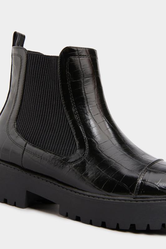 LIMITED COLLECTION Black Patent Croc Platform Chelsea Boots In Wide Fit_E.jpg