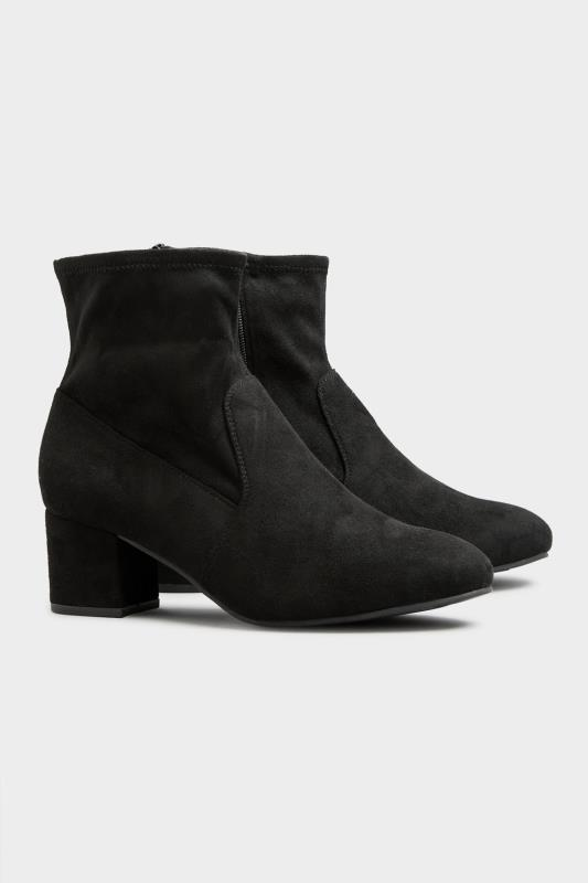 Black Faux Suede Stretch Block Heeled Boots In Extra Wide Fit_C.jpg