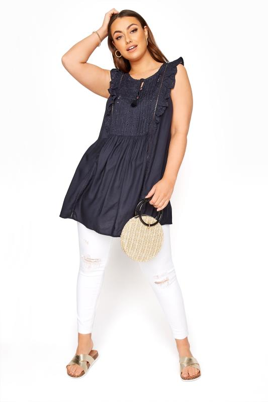 Navy Broderie Frill Blouse