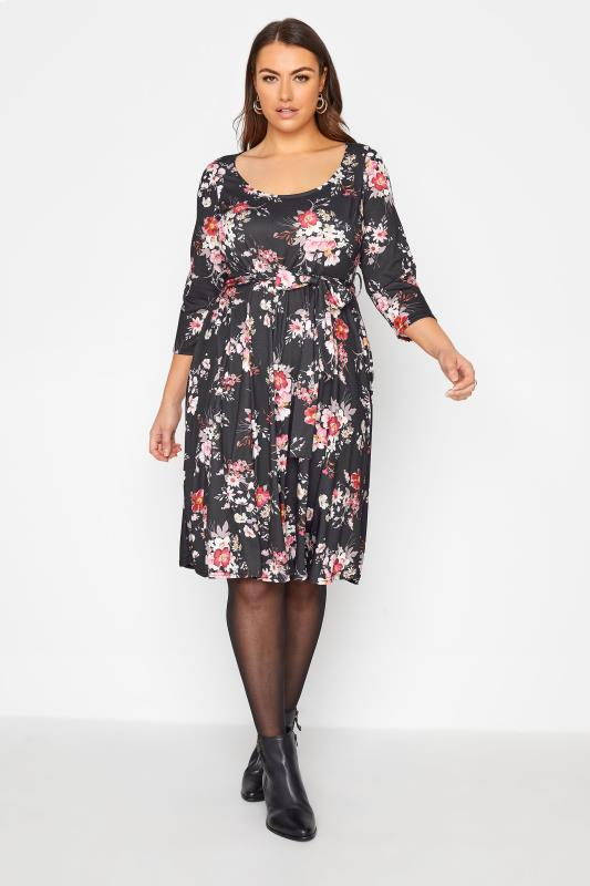 Plus Size  YOURS LONDON Black Floral Skater Dress