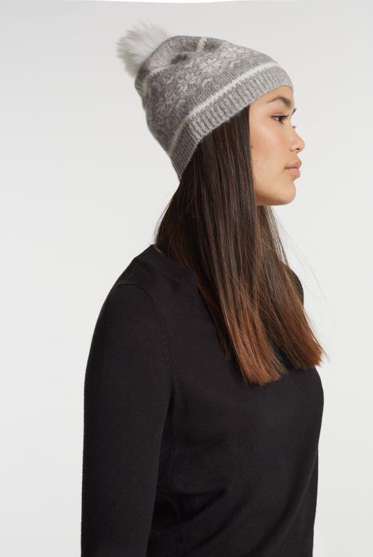 Grey Wool Blend Fairisle Bobble Hat
