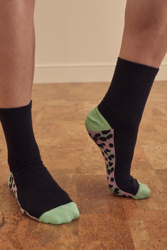 3 PACK Black Animal Block Cotton Socks