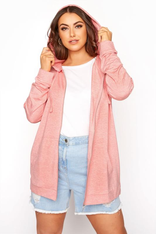 Plus Size  Pink Marl Zip Through Hoodie