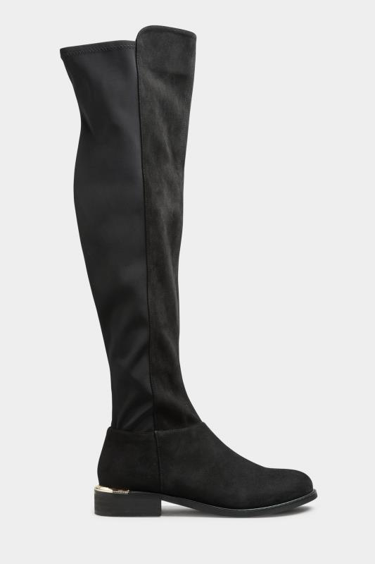 Tall  LTS Black Suede Over The Knee Stretch Boots
