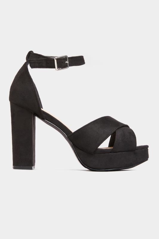 LIMITED COLLECTION Black Vegan Faux Suede Platform Heels In Extra Wide Fit