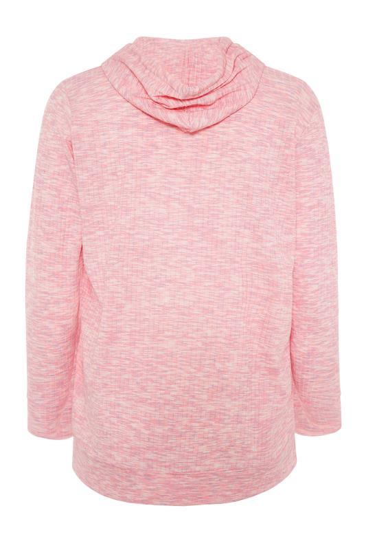 Pink Marl Ribbed Zip Through Hoodie_BK.jpg