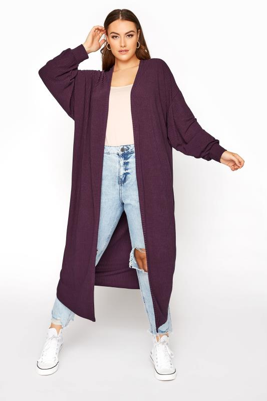 LIMITED COLLECTION Plum Ribbed Long Cardigan_A.jpg
