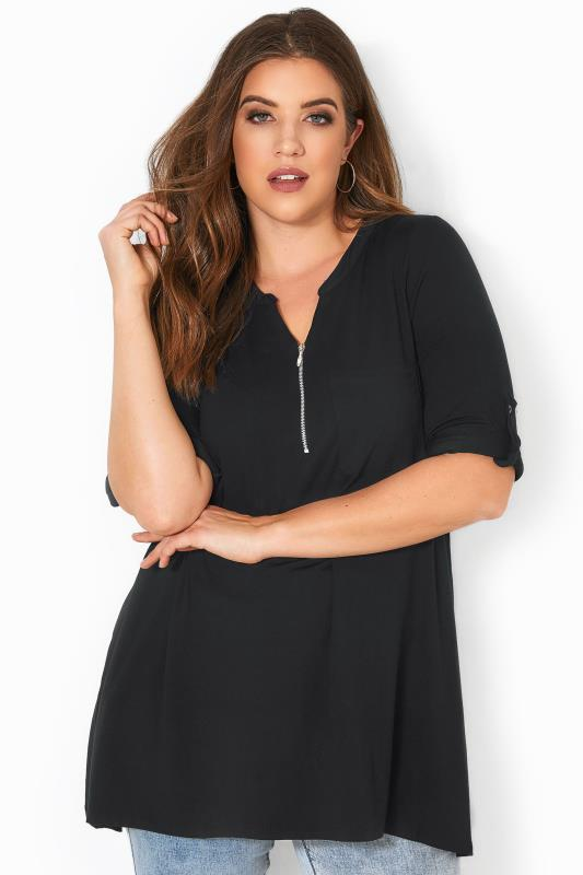 Plus Size Smart Jersey Tops Black Zip Front Longline Top