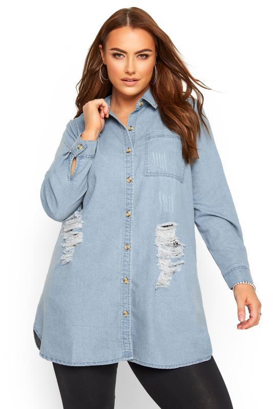 Plus Size Shirts Bleach Blue Distressed Denim Shirt