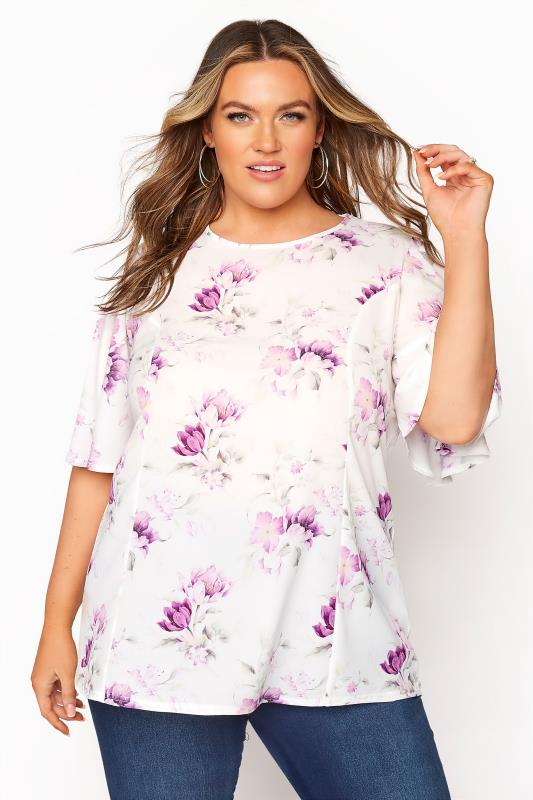 Plus Size  YOURS LONDON White Floral Blouse