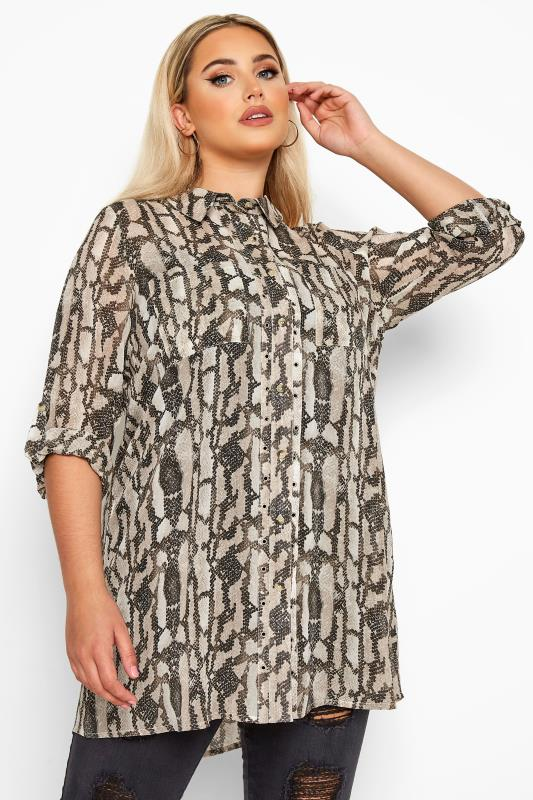 Plus Size Blouses & Shirts LIMITED COLLECTION Stone Snake Print Eyelet Shirt