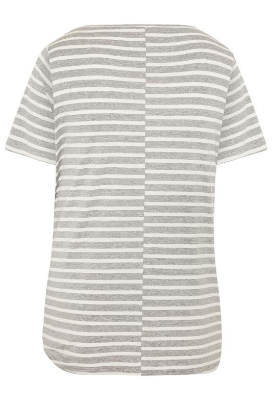 BUMP IT UP MATERNITY Grey Stripe Longline T-Shirt_BK.jpg