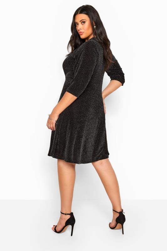 Black Sparkle Skater Dress