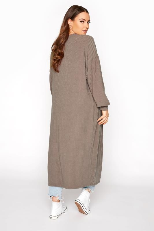 LIMITED COLLECTION Mocha Ribbed Long Cardigan_C.jpg