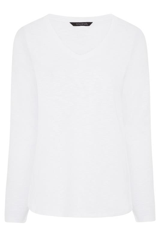 White Cotton V-Neck Long Sleeve Top_F.jpg