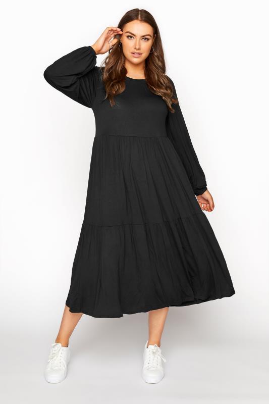 Black Balloon Sleeve Midaxi Dress_A.jpg