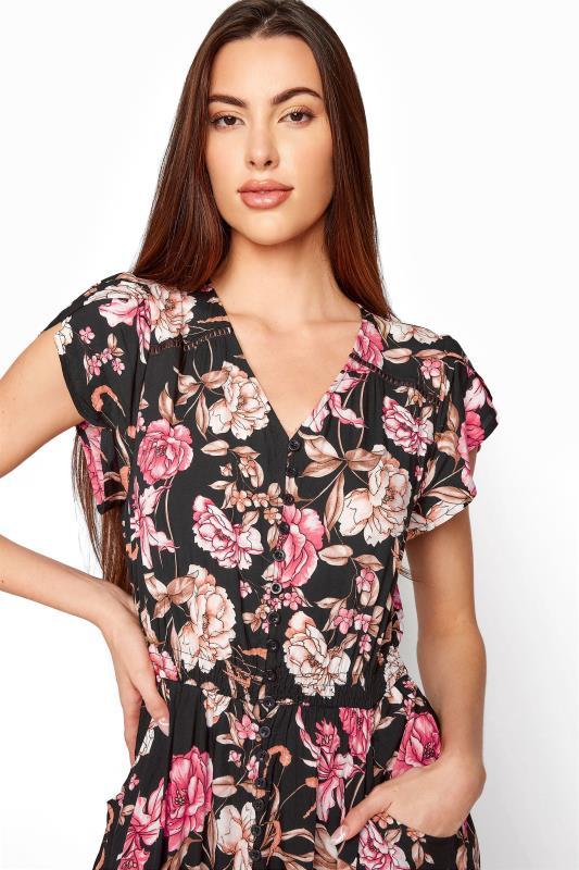 LTS Black Floral V-Neck Frill Hem Maxi Dress_D.jpg
