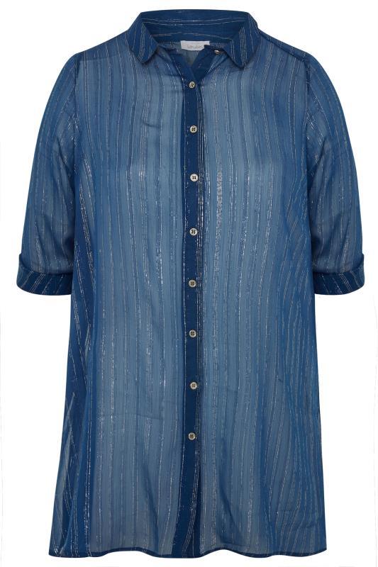 YOURS LONDON Navy Metallic Chiffon Striped Shirt