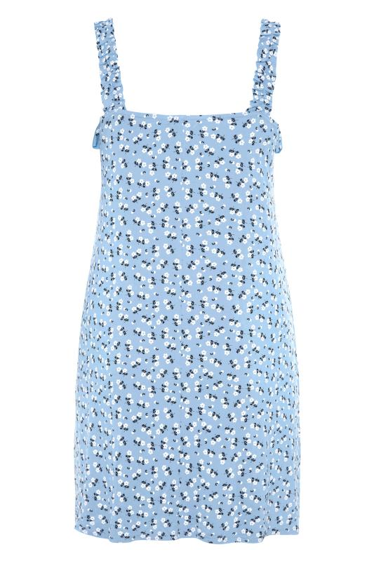 LIMITED COLLECTION Blue Floral Strappy Frill Dress_BK.jpg