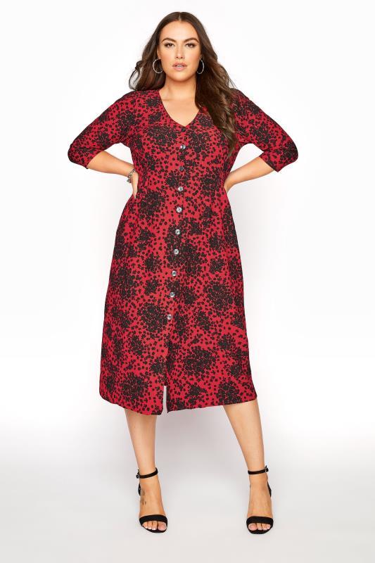 dla puszystych YOURS LONDON Red Ditsy Button Dress
