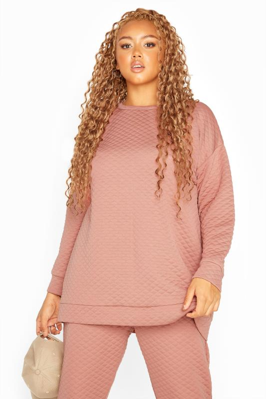 Pink Quilted Sweatshirt
