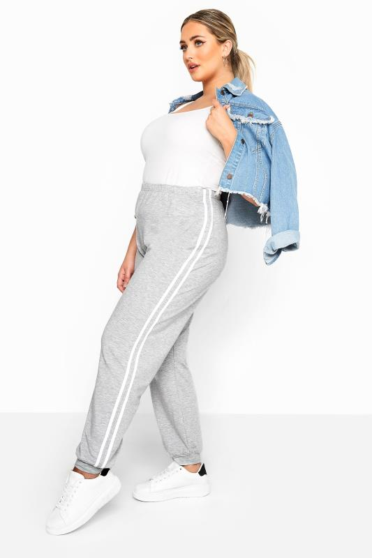 Plus Size Joggers LIMITED COLLECTION Grey Marl Side Stripe Joggers