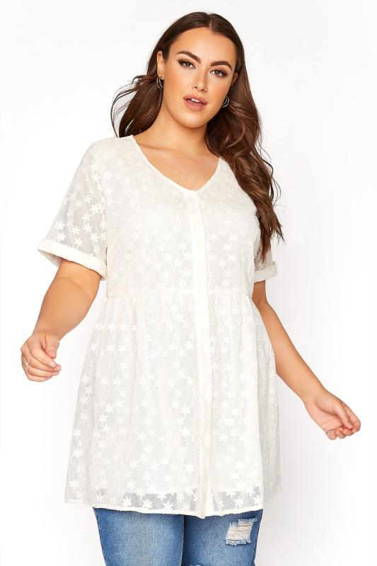 Plus Size  White Smock Embroidered Button Blouse