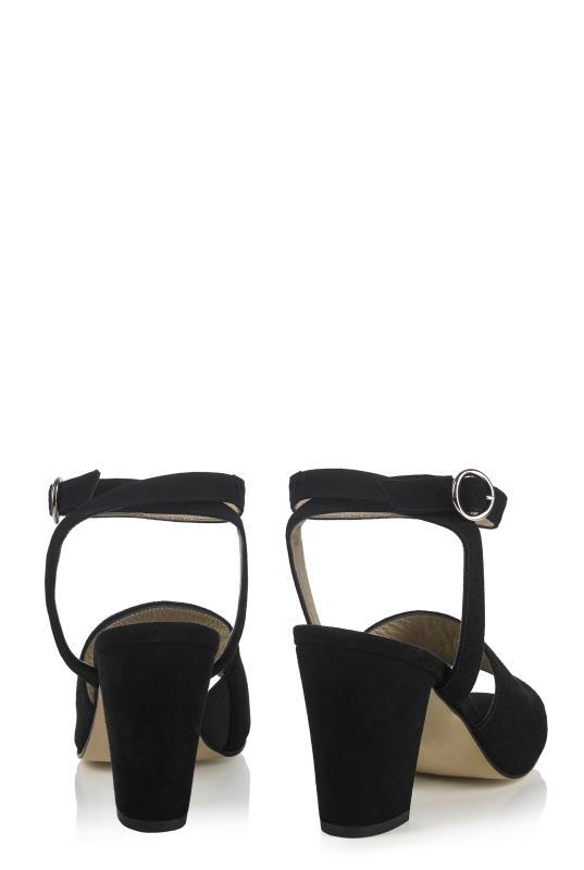 Deluxe Block Heel Ankle Strap Suede Sandal