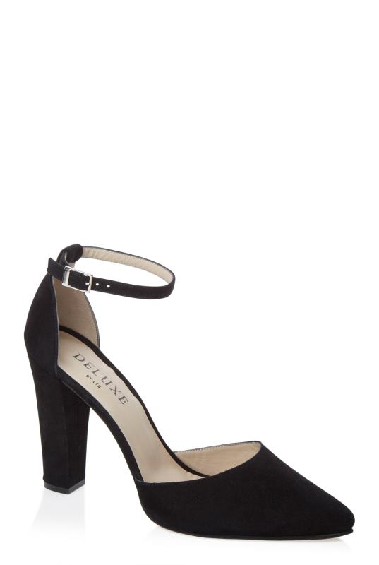 Black Deluxe High Ankle Strap Suede Heel