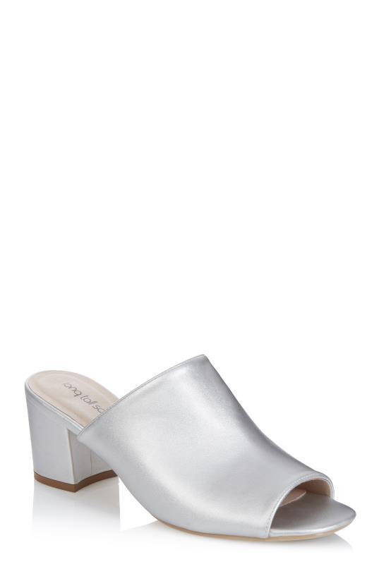 Silver Corinne Heeled Mule