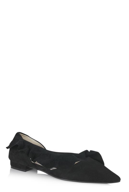 LTS Black Bridey Suede Ruffle Ballerina
