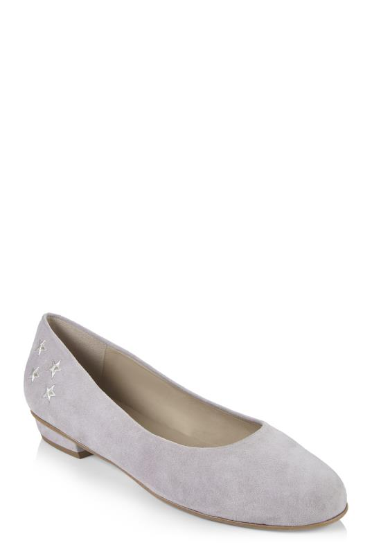 Grey Deluxe Star Embroidered Suede Ballerina