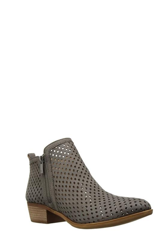 Grey Lucky Brand Perforated Ankle Boots