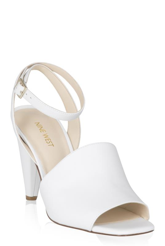 NINE WEST White Cone Leather Heels
