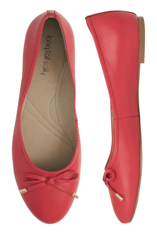 Red Zita Bow Detail Leather Ballerina