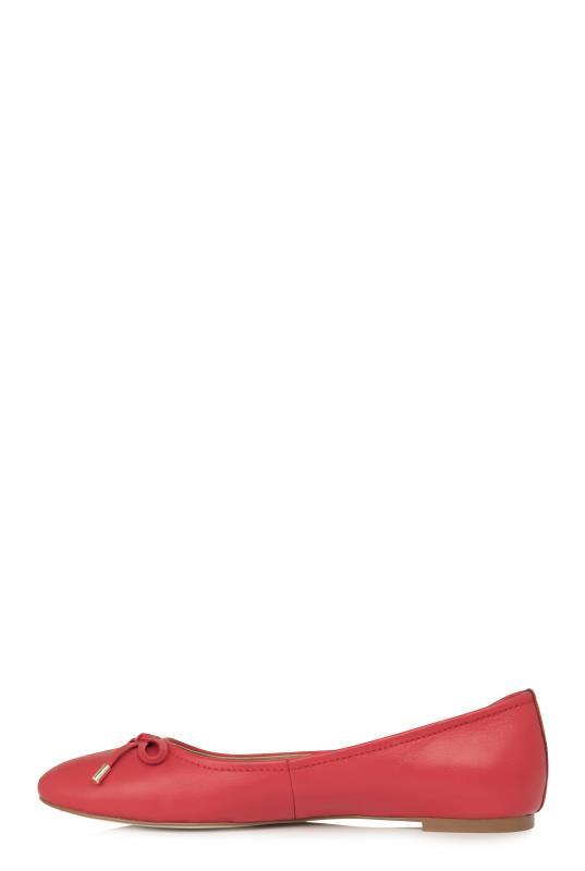 Red Zita Bow Detail Leather Ballerina