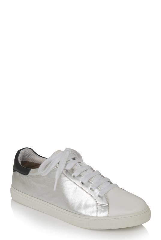 Silver Leather Lace Up Trainers