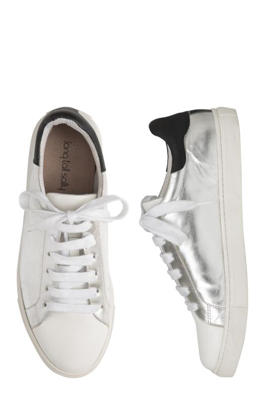 Silver Leather Lace Up Trainers_2.jpg