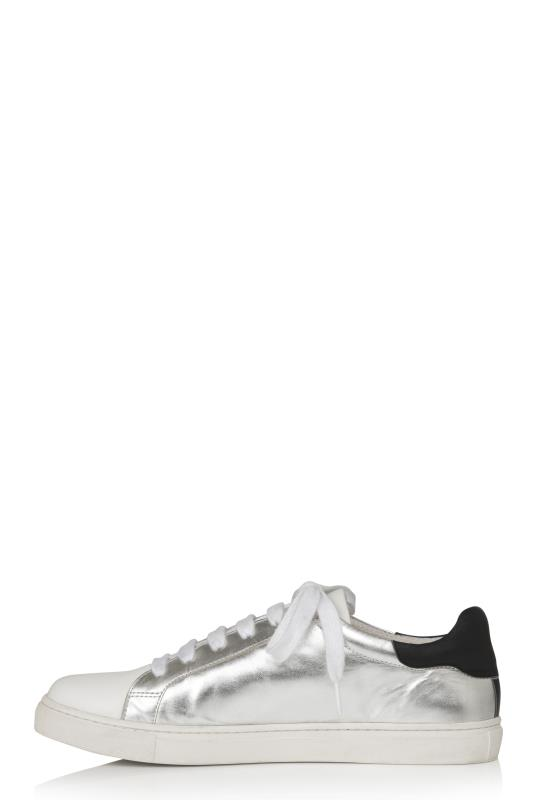 Silver Leather Lace Up Trainers_3.jpg