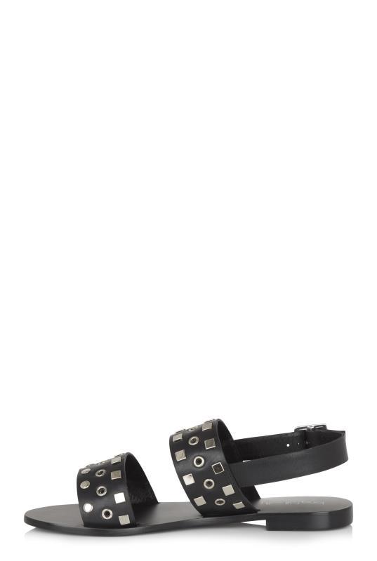 Black Stud Leather Sandals