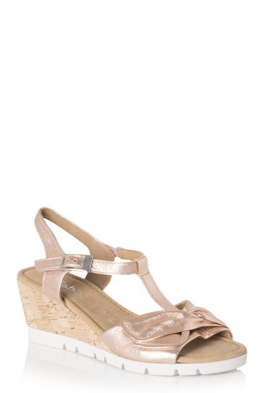 GABOR Pink Metallic Wedge Sandal