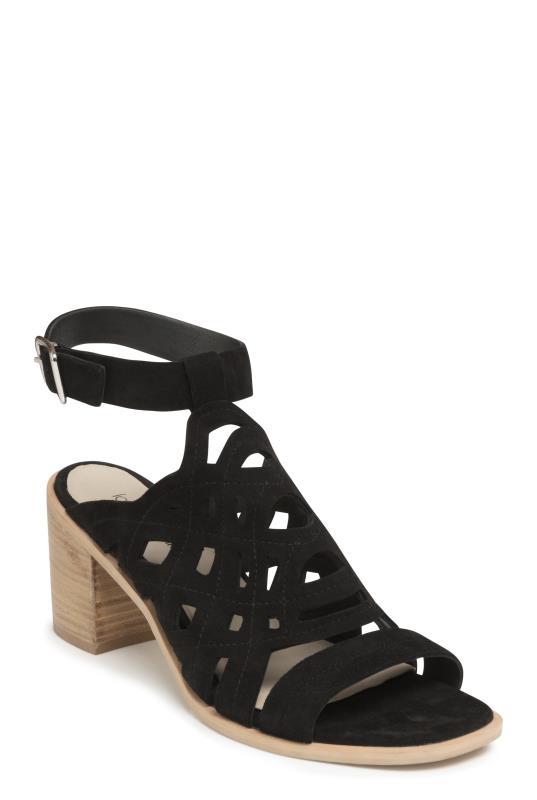 LTS Black Liv Suede Cut Out Detail Sandal