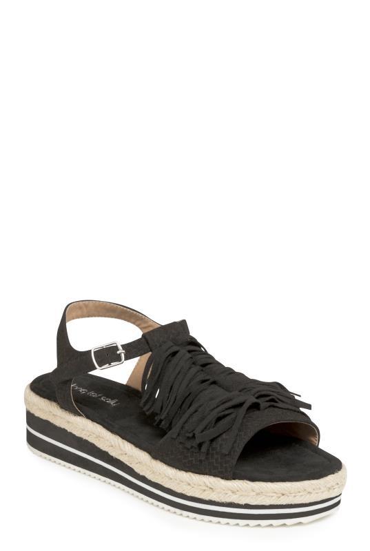 LTS Black Amal Fringe Detail Platform Sandal