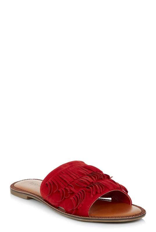 LTS Red Noelle Fringed Sandal