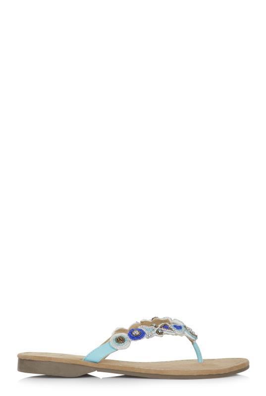 Tall Flipflops Blue Mustang Beaded Sandal