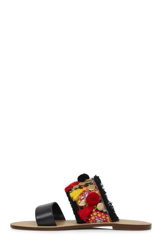 LTS Black Lauren Embellished Slide