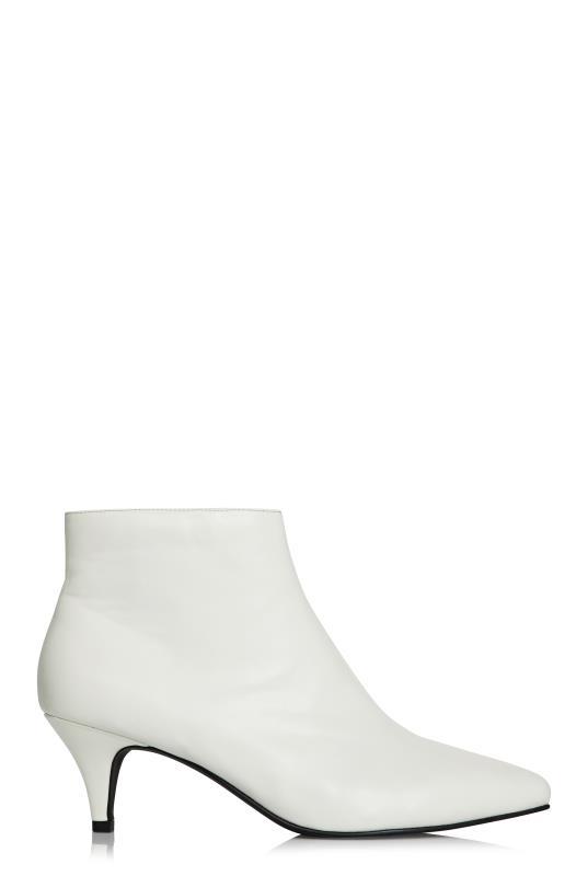 LTS White Hayden Kitten Heel Ankle Boot