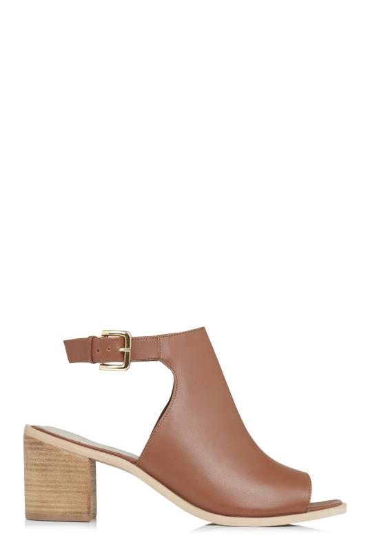 Tall Sandals LTS Tan Lilly Leather Block Heel Sandal